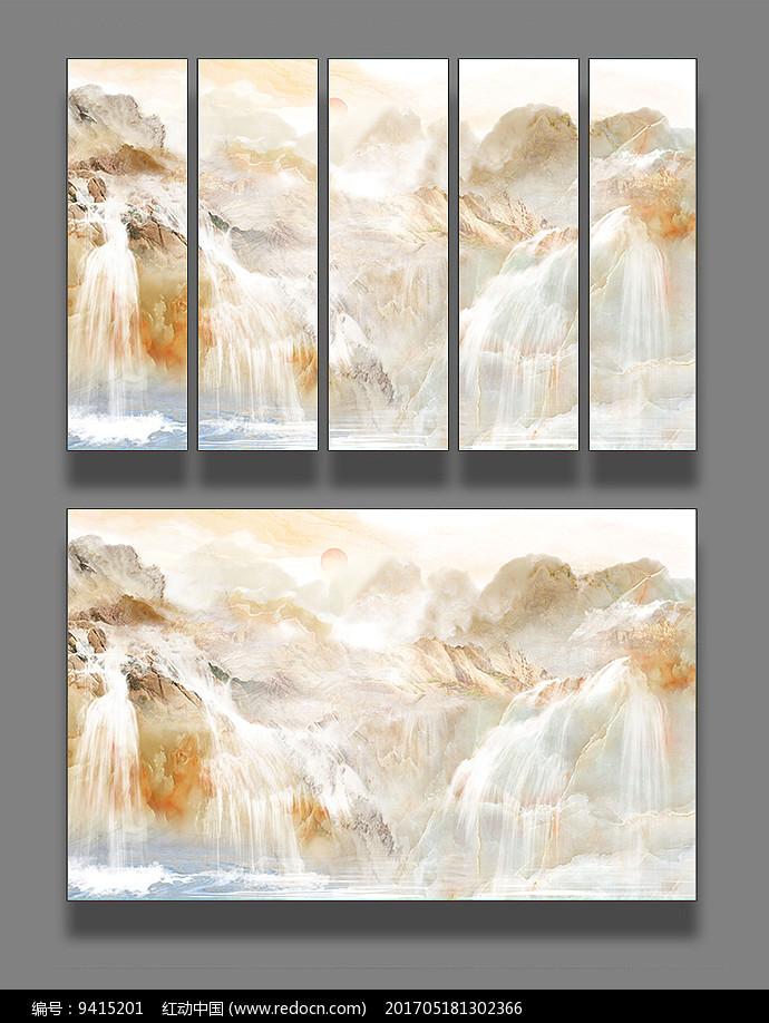 大理石纹理山水画图片