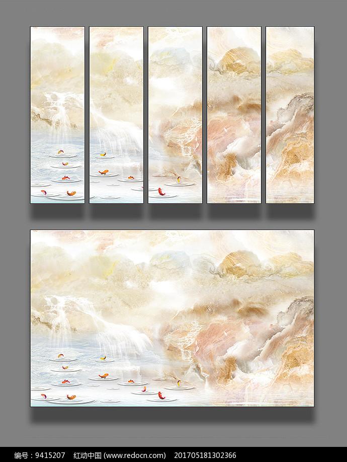 大理石纹山水背景墙图片