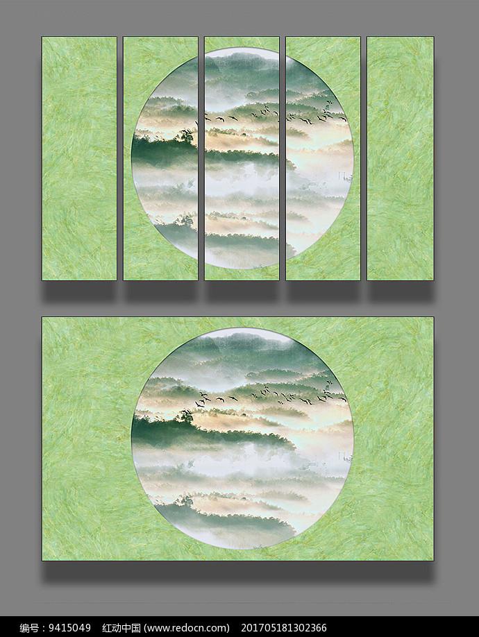 大理石纹圆框山水画图片
