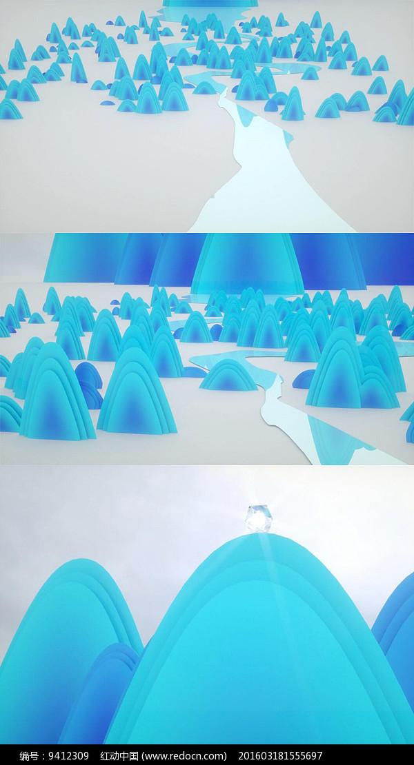 二维卡通山脉动态舞台背景图片