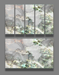 海水波浪渐变线条装饰画