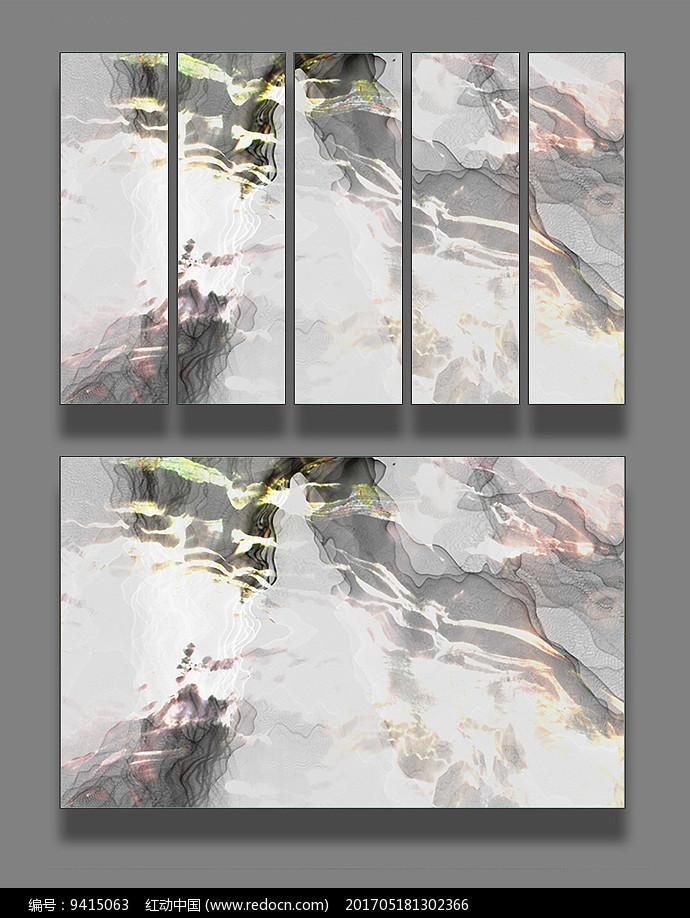 海水波浪艺术线条装饰画图片