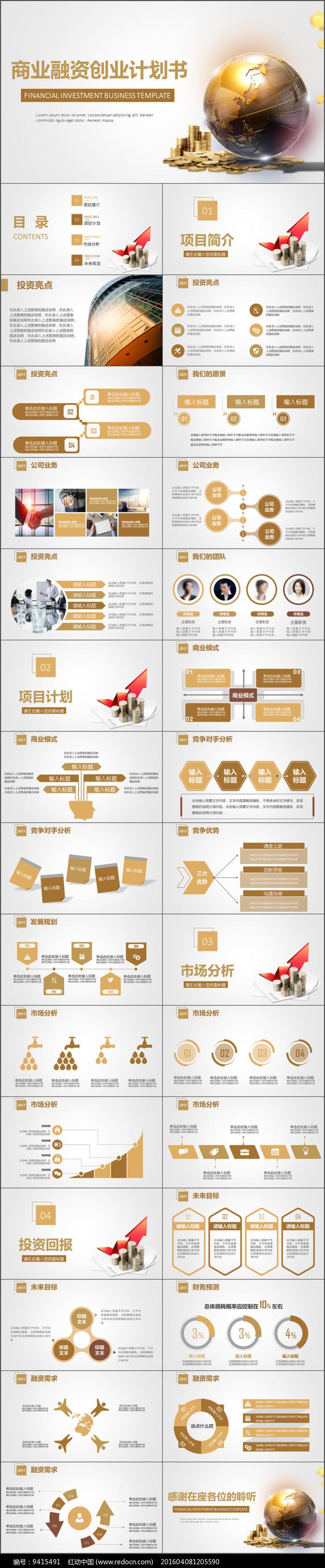 金色商业融资创业计划书PPT图片