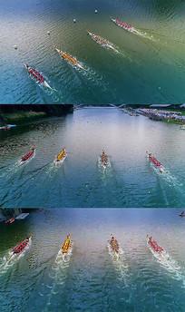 赛龙舟龙舟比赛航拍高清视频