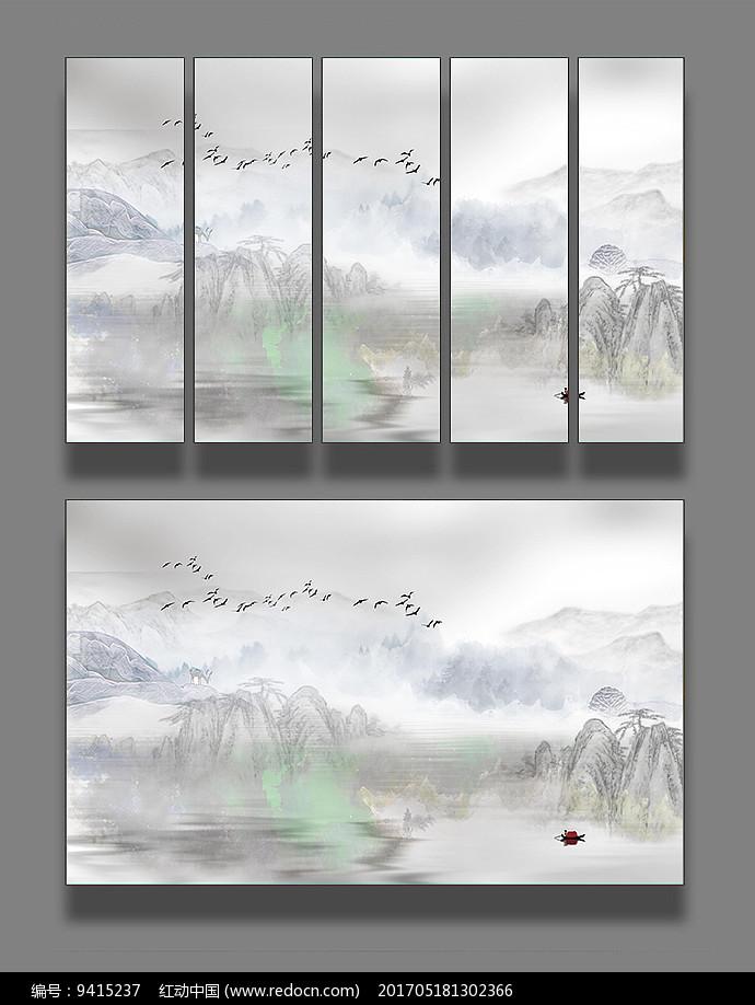 水墨国画山水装饰画图片
