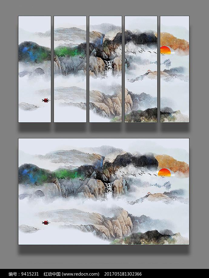 水墨山水国画装饰画图片