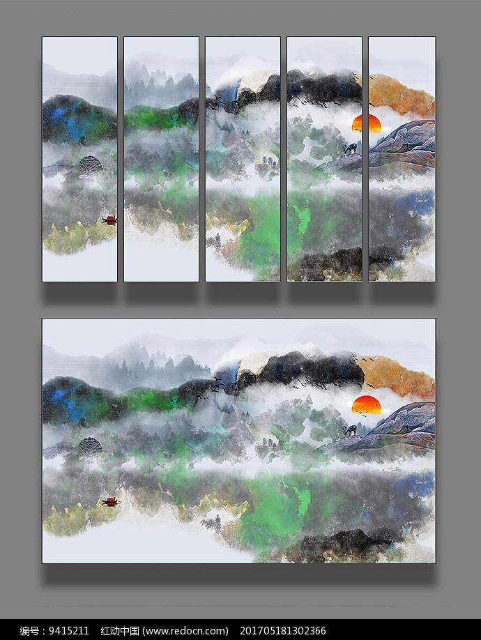 水墨山水装饰画图片