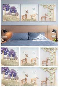 现代简约浮雕麋鹿三联装饰画