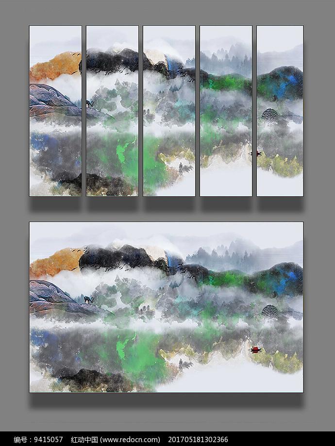 新中式抽象山水墙纸图片