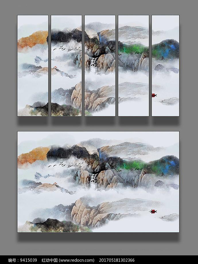 新中式山水抽象画图片