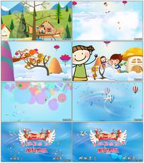 可爱卡通六一儿童节片头模板