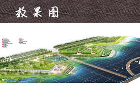 临水公园休闲景观鸟瞰图