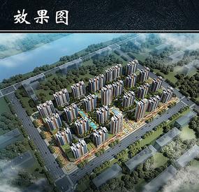 某住宅区建筑效果鸟瞰图