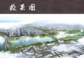 现代城市滨水公园鸟瞰图