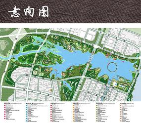 大型生态湖水公园彩色平面图