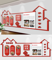 红色社区文化墙立体