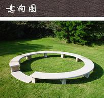 绿地圆形公共坐凳 JPG