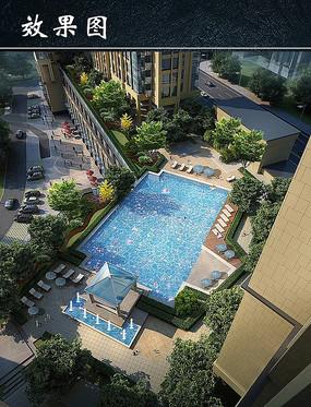 住宅小区内游泳池效果图