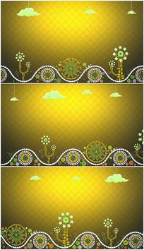 黄色卡通天空花朵流动背景视频