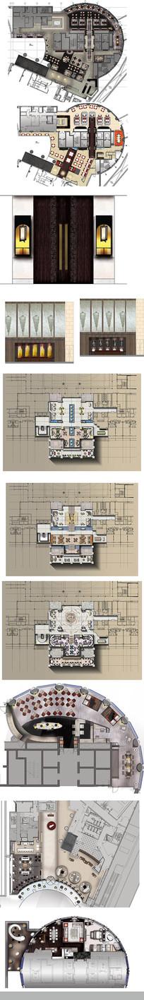 酒店彩平装饰图