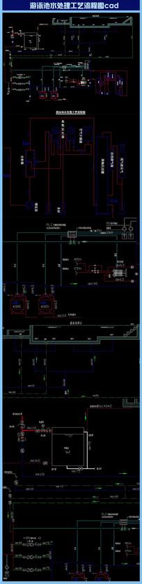 游泳池水处理工艺流程图cad dwg