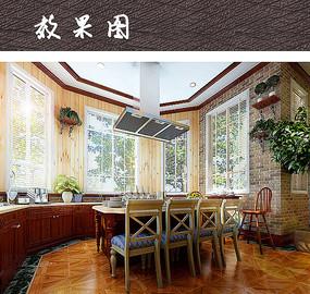 别墅开放式厨房餐厅