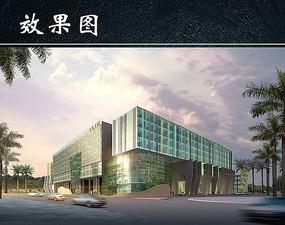 玻璃结构建筑商务大厦效果图 JPG
