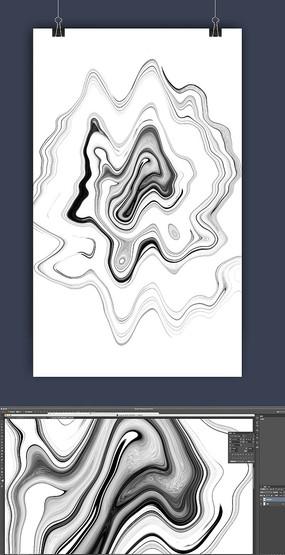 抽象水墨线条装饰画