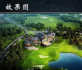 高尔夫球场景观设计鸟瞰图