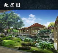 公园小亭园林景观规划效果图