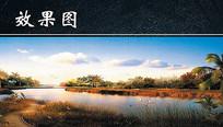 黄昏下湿地景色效果图 JPG