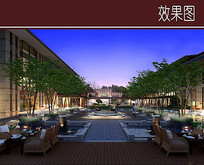 酒店庭院中心水景效果图 JPG