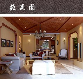木质家具客厅效果图 JPG