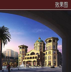 欧式酒店建筑透视图