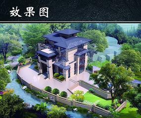 日式别墅建筑效果图