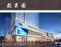 商业综合广场夜景透视效果图 JPG