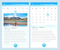 手机蓝色日历APP界面模板