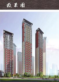 现代高层住宅小区建筑效果图 JPG