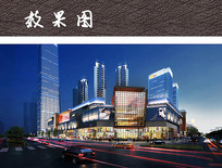 现代商业中心夜景效果图 JPG