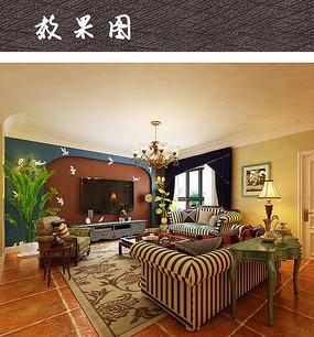 现代中式客厅软装搭配 JPG