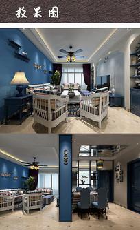 现代撞色家庭室内效果图 JPG