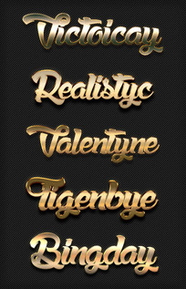 3d立体金色金属字体样式
