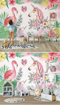 北欧手绘火烈鸟儿童卧室景墙