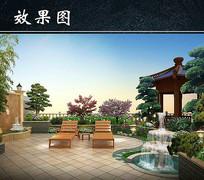 别墅庭院躺椅景观效果图