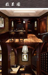 酒窖吧台室内效果图