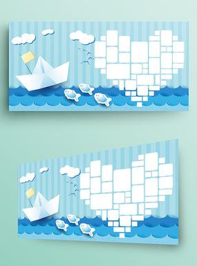 蓝色海底世界儿童照片墙