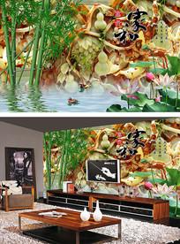 玉雕山水画电视背景墙
