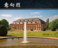 德国达姆施塔特酒店喷泉图