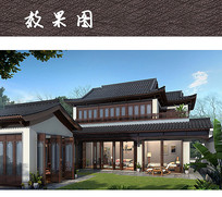 两层南方中式别墅建筑 JPG