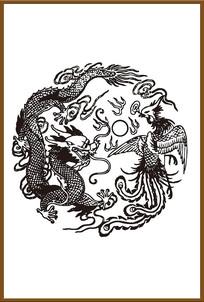 龙与凤凰矢量图案
